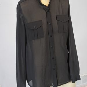 Joe Fresh - black sheer blouse
